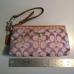 Coach Signature Wristlet in Lilac Fabric